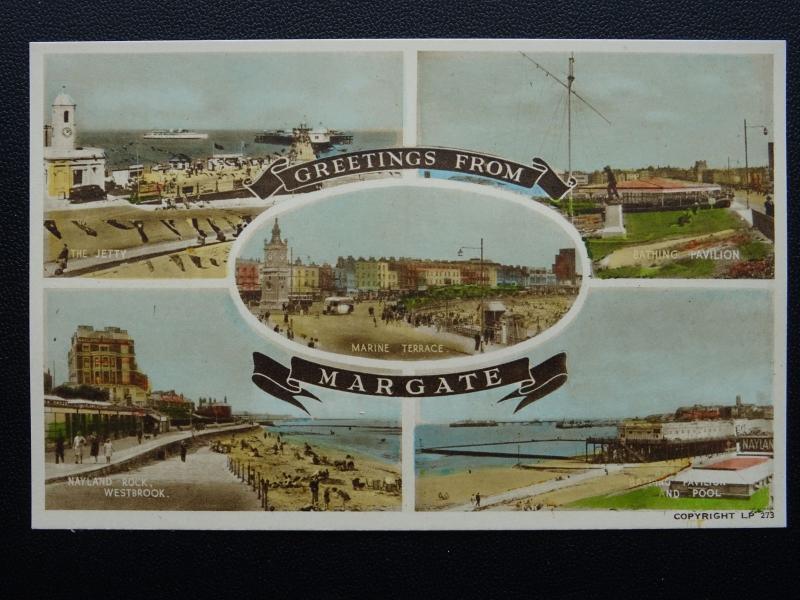 Kent Margate 5 Image Multivue c1940's Carte Postale BY A. H. & S.LP273