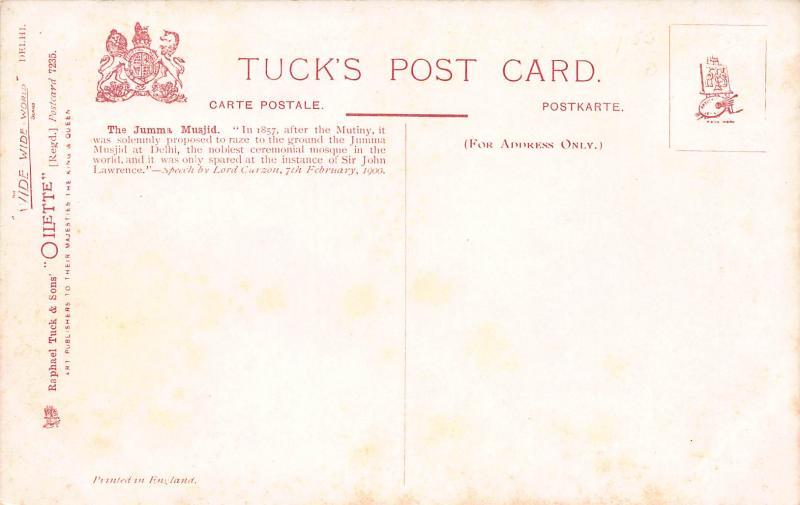 The Jumma Musjid, Delhi, India, Early Tuck's Postcard, Unused