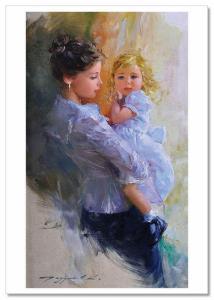 KIDS ART ~ LITTLE GIRL MOM Hug Motherhood childhood Razumov Modern Postcard