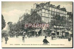 Old Postcard Boulevard St Denis Paris and Strasbourg Restaurant Maire