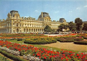 France Paris The Louvre and Its Gardens Flowers Postcard