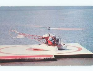 Pre-1980 VINTAGE HELICOPTER ON FLOATING LANDING PAD Lake Of The Ozarks MO E5743