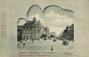 hungary, BUDAPEST, Westbahnhof Theresienring, Railway Station (1899) Postcard