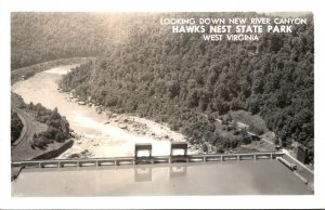 West Virginia Hawks Nest State Park Looking Down New River Canyon 1954 Real P...