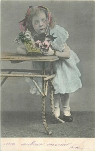 Children portraits early 1904 postcard cute little girl