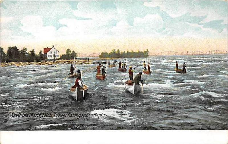 Michigan Sault Ste Marie   Indians Fishing in the Rapids