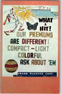 1950s Detroit MI Advertising Postcard FRANK PLASTICS Instant Glitter Kits