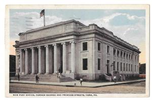 York PA New Post Office Vintage 1919 Postcard