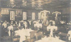 RPPC STRATFORD HOTEL Pine Room Interior Chicago, IL ca 1910s Vintage Postcard