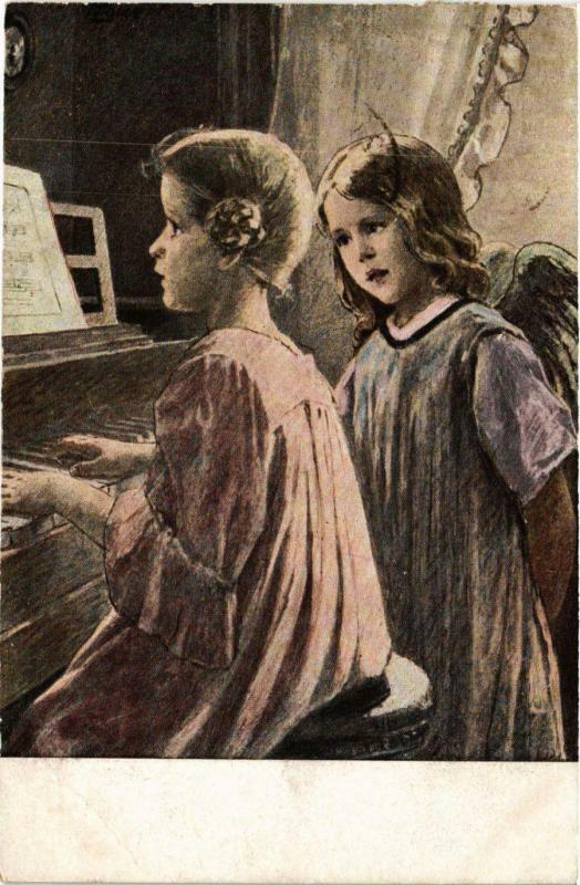 CPA Angel and a Girl Playing on the Piano ANGELS (777429)