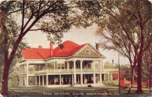 Davenport Iowa~The Outing Club House~Benches on Lawn~1910 Postcard