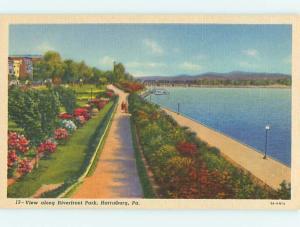 Unused Linen RIVERFRONT PARK SCENE Harrisburg Pennsylvania PA r8331