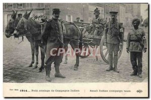 Old Postcard Donkey Mule Small team of Indian Army campaign Red Cross