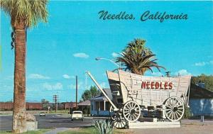 Autos 1950s Route 66 Needles California Postcard Welcome Sign Columbia 3504