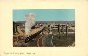 F27/ Payette Idaho Postcard c1910 Railroad Depot And Railway Yards