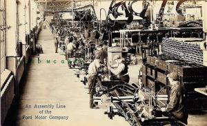 1928 Dearborn MI Real Photo Postcard: Ford Motor Rouge Plant Assembly Line