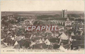 Old Postcard Auxerre View from Belvedere Manifacier to St. Peter's Church
