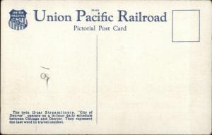 UP Union Pacific Streamliner City of Denver RR Train Linen Postcard
