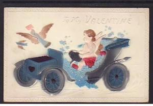 To My Valentine Cupid Automobile Postcard