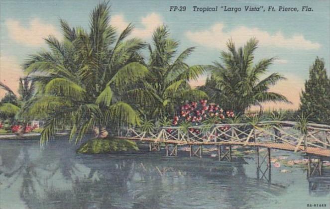 Florida Fort Lauderdale Tropical Largo Vista 1946 Curteich