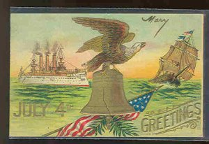 pc9437 postcard 4th July Greetings Embossed MOBSC