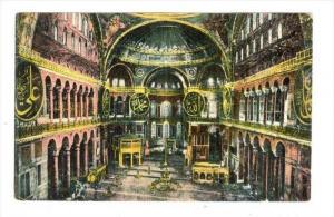 Constantinople , Interieur de la Mosquee Ste Sophie, Turkey, 00-10s