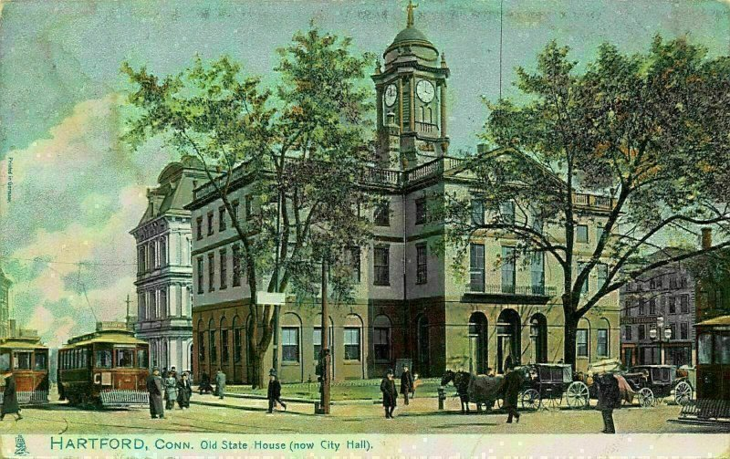 Hartford Connecticut old state house town hall clock tower tram postcard