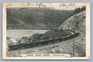 PENNA RAILROAD HORSE SHOE CURVE 1907 ANTIQUE POSTCARD railroad railway train