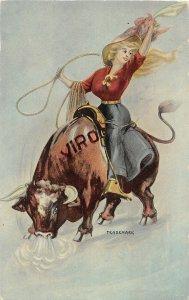 H21/ Advertising Postcard c1910 Viro Cowgirl Lasso Mad Bull Rodeo