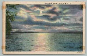 Lake George New York~Moonlight On Lake George~Full Moon~Vintage PC