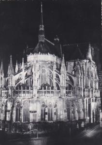 France Reims l'Abside de la Cathedrale Illuminee