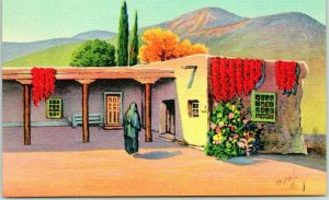 New Mexico Linen Postcard Quaint Mexican Home - Old Colonial Spanish Influence