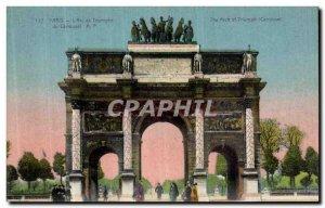 Old Postcard Paris Arc de Triomphe du Carousel