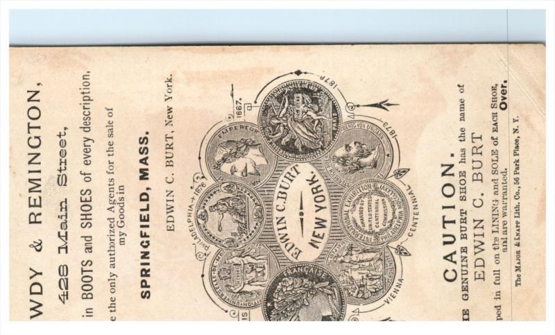 1734  Edwin C. Burt  Fine Shoes Trade Card Girl in Shoe carried by black boys