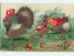Pre-Linen thanksgiving COLORFUL TURKEY WITH PUMPKIN AND VEGETABLES HQ7531