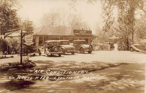 Lynnfield MA Swains Drive-In Restaurant on Route 128 Old Cars RPPC