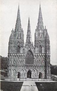 Lichfield Cathedral Est Front Staffordshire England Postcard
