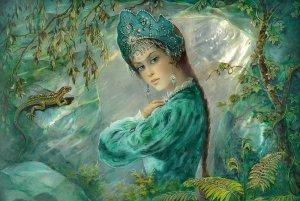 QUEEN of Copper Mountain Woman Ethnic Folk Fantasy Tale Russian New Postcard