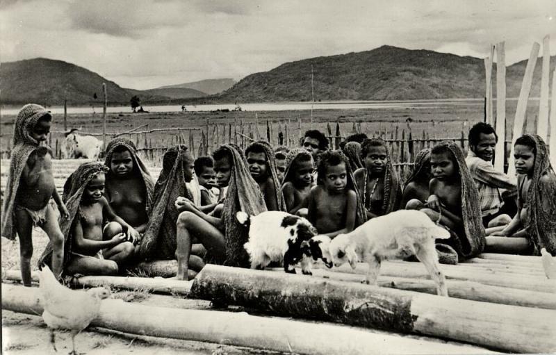 dutch new guinea, Native Papua School Children at Bomou, Lake Tage (1950s) RPPC