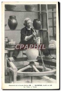 Old Postcard Potter Pottery Faiencerie Great house HB Quimper The tour cow