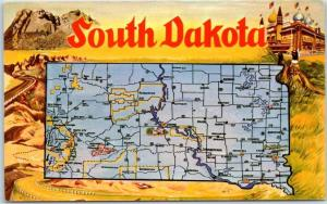 South Dakota State Highway Map / Big Letter Postcard Corn Palace Curteich Chrome