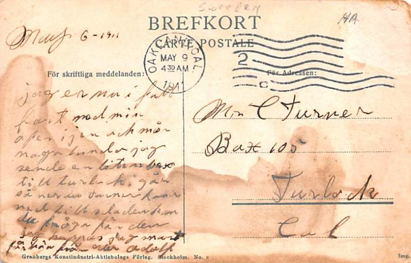 Sweden Old Vintage Antique Post Card Drottninggatan Karlshamn 1911 Missing Stamp