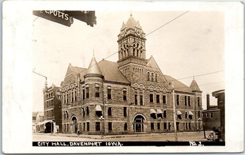 Davenport, Iowa RPPC Real Photo Postcard CITY HALL Building Street View 1912