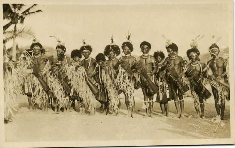 new guinea, PORT MORESBY, Native Papua Warriors Dancing (1920s) Gibson RPPC