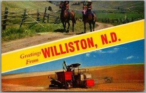 1950s WILLISTON, North Dakota Greetings Postcard Farming / Kids on Horses