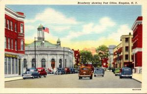 New York Kingston Broadway Showing Post Office Curteich