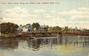 Asbury Park New Jersey~Emory Street Bridge on Welsey Lake~Row Boat~1907 Postcard