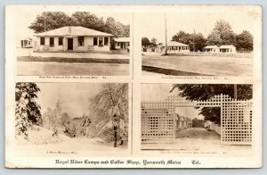 Yarmouth Maine~Royal River Camps~Coffee Shop~Lattice Gate~Winter Drive~1930 RPPC