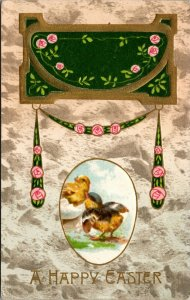 A Happy Easter Postcard - CHICKS VINTAGE  - FLOWERS - PC