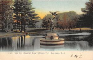 Providence Rhode Island~Roger Williams Park-Dyer Memorial in Pond~1906 Rotograph